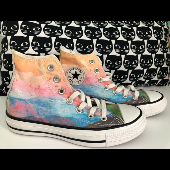 e207aae5b2747 Watercolor Converse Hi Tops - Size 5 / Women's 7